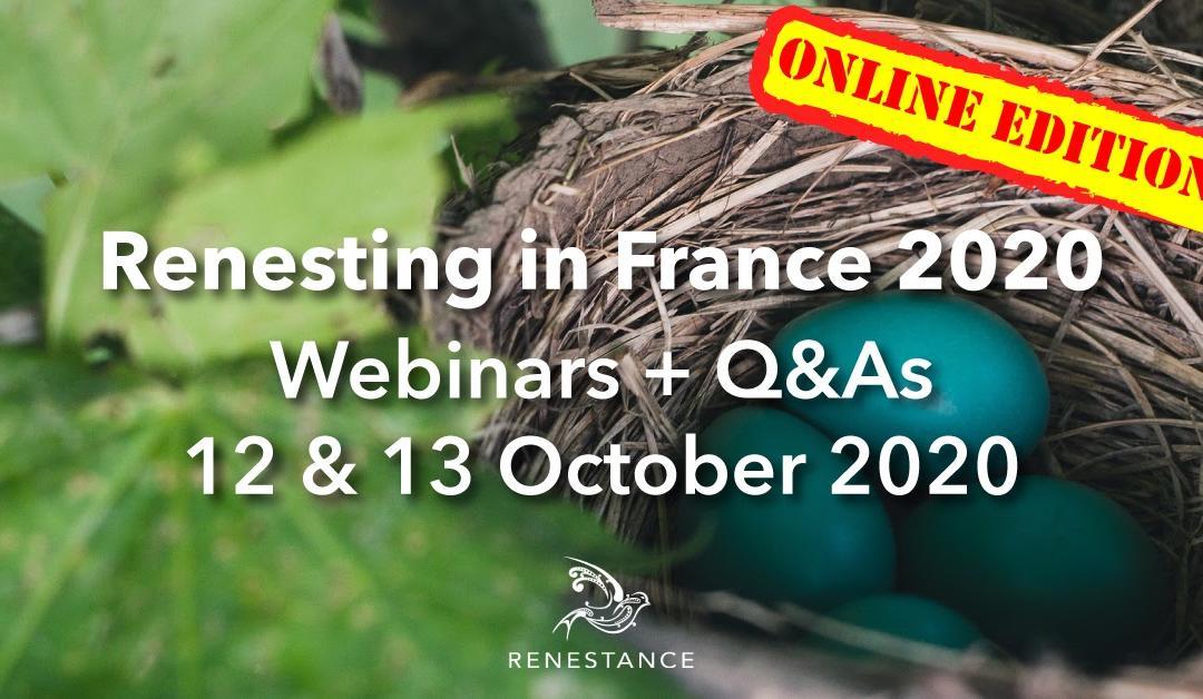 Renesting in France Webinars 2020: Topics and Speakers